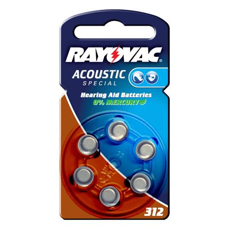 Knoopcel Rayovac 312 Acoustic 1,4V, 180 mAh
