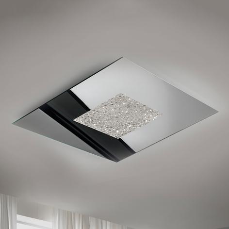 Lucida plafoniera LED Narciso, ottica ghiacciata