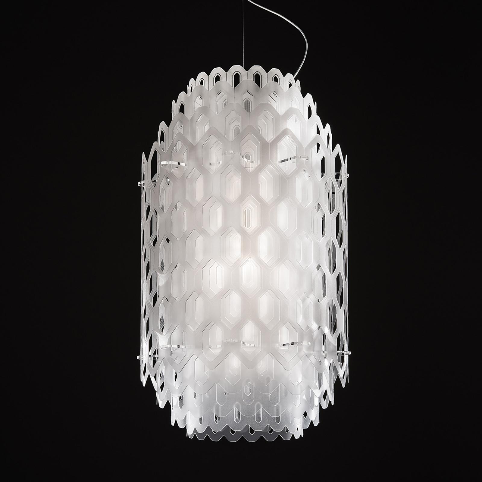 Biała, wielowarstwowa designerska lampa wisząca