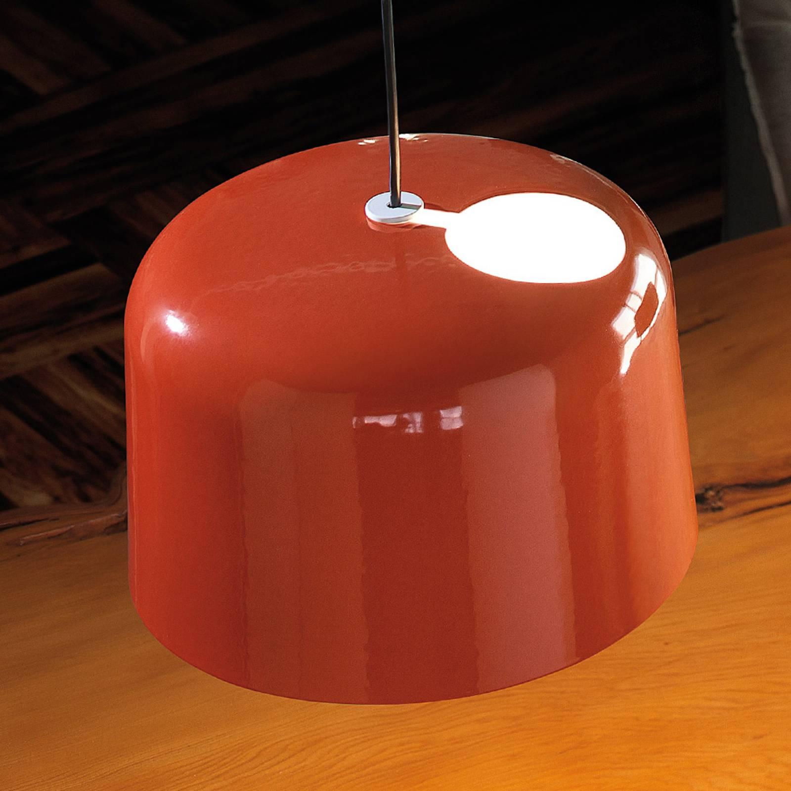 Oranje glanzende keramiek-hanglamp Add