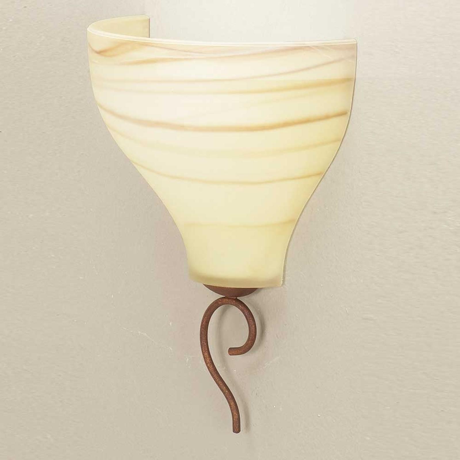 Vegglampe Mattia av glass i landstil