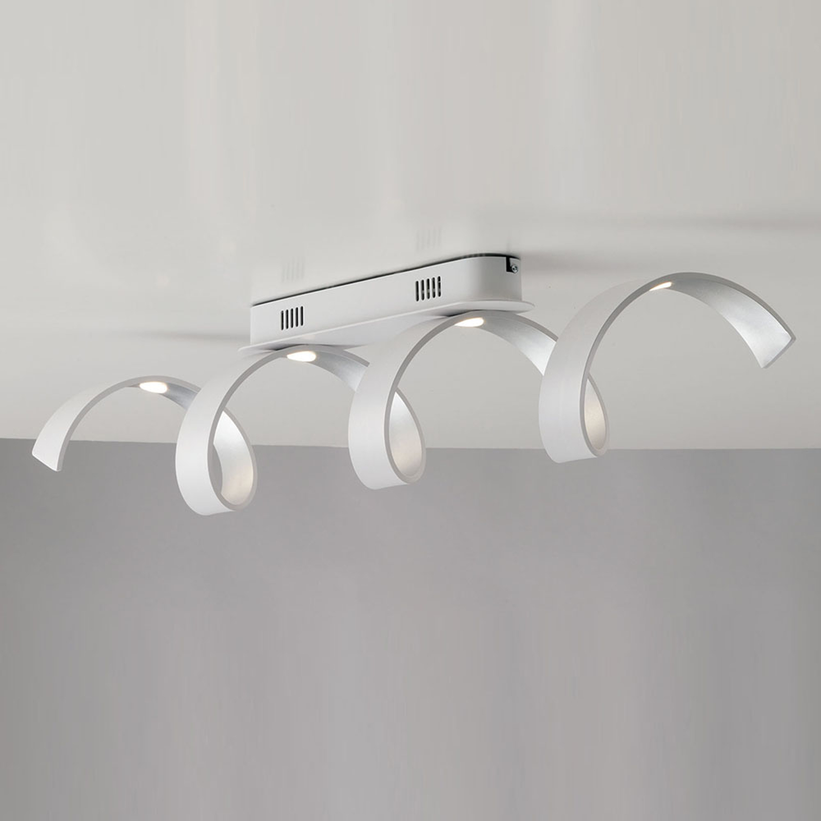 LED plafondlamp Helix in wit-zilver