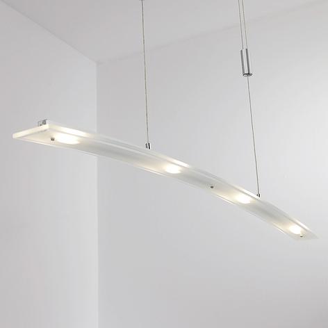 LámparaLED suspendidaJuna de vidrio, 98cm largo