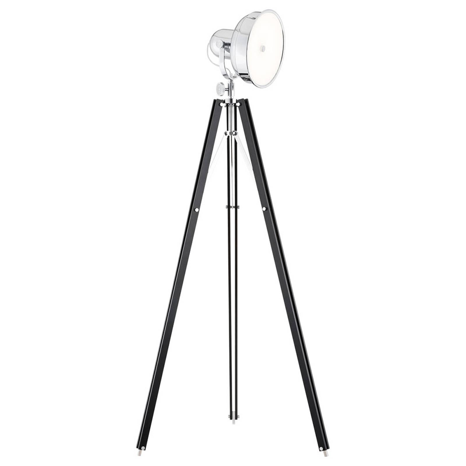 Lampadaire LED Forada trépied bois noir/chrome