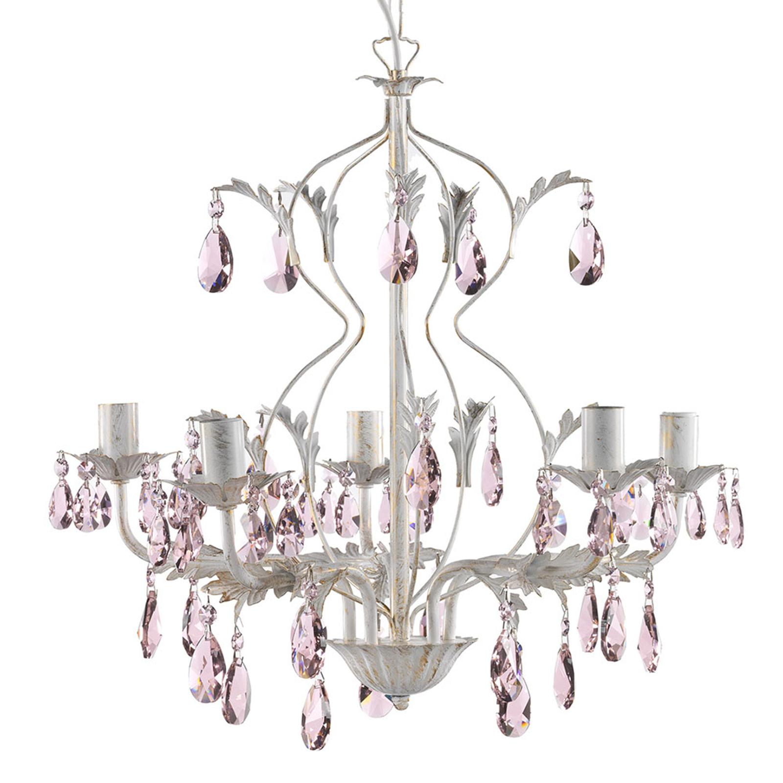Żyrandol Kate, 5-punktowy biały, różowe kryształki