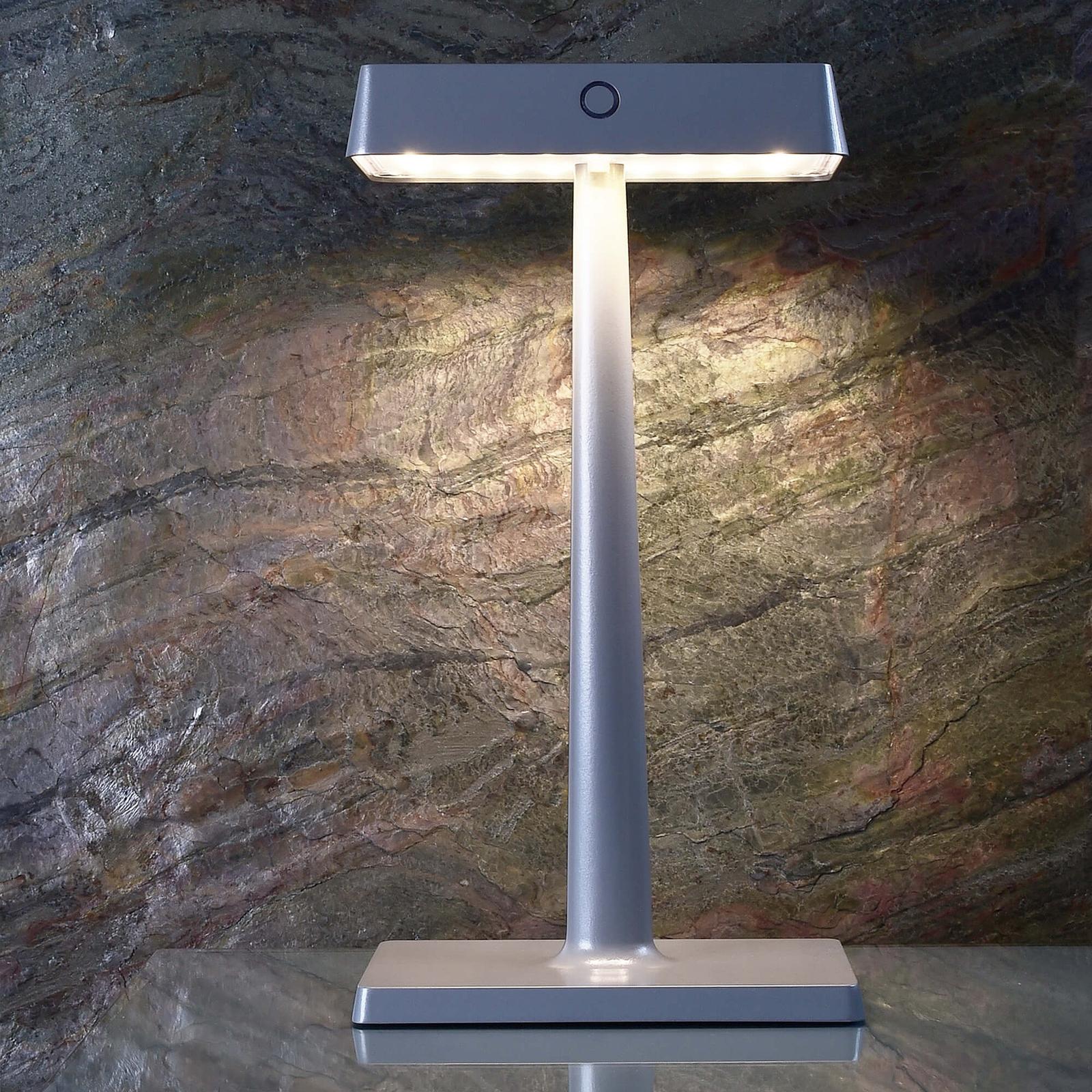 LED-Tischleuchte Algieba, akkubetrieben, grau