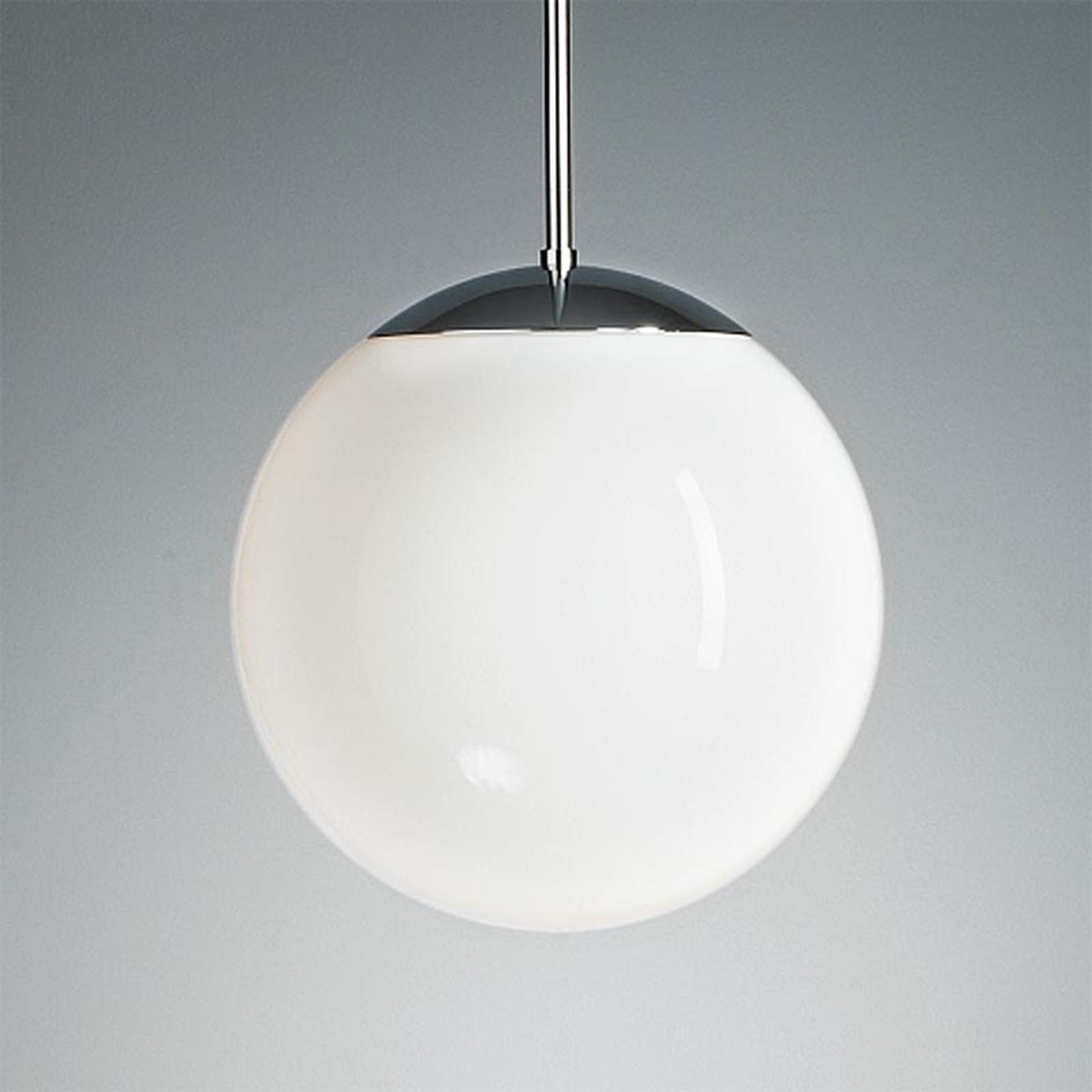 Pendellamp met opaalbol, 30 cm, chroom