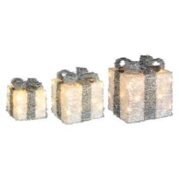 LED-Geschenkbox Lumineo Objects 3er weiß/grün