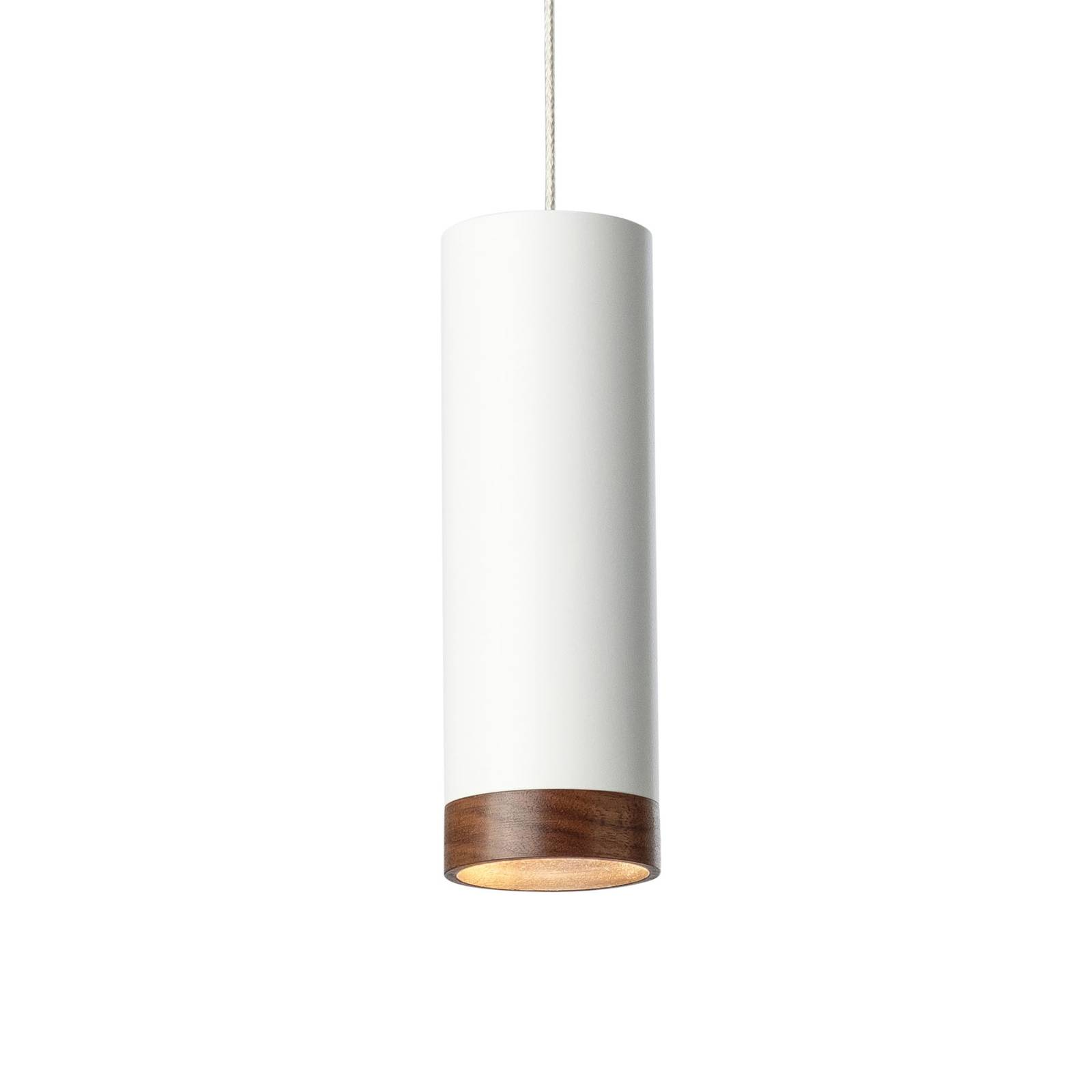 LED-Pendelleuchte PHEB, weiß/nussbaum