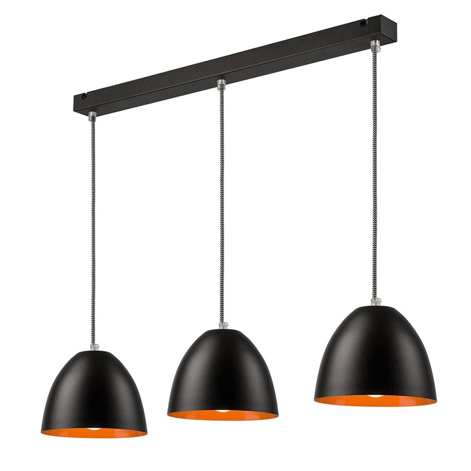 Suspension Atlantik à trois lampes, noire