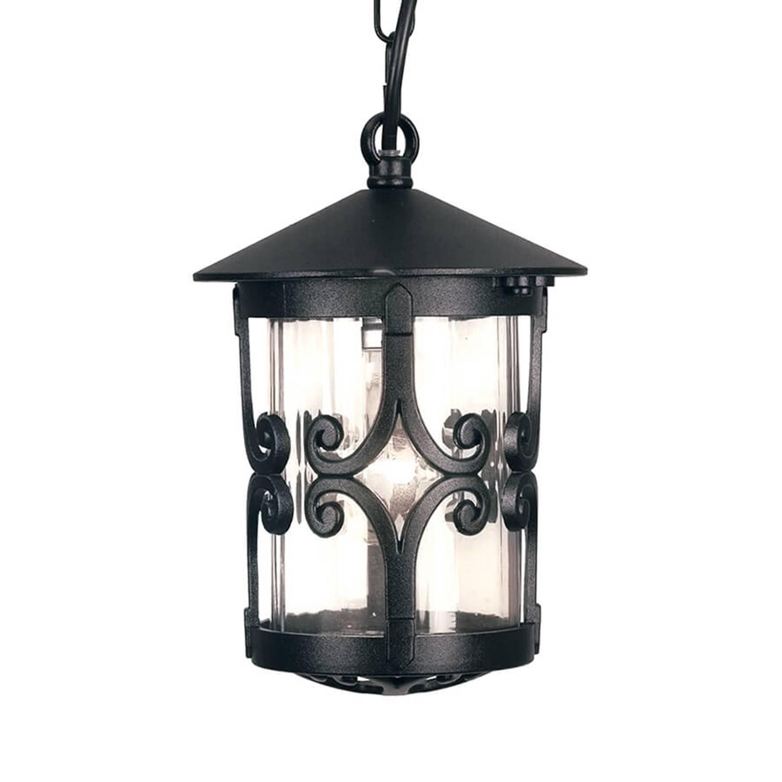 Zewnętrzna lampa wisząca Hereford z dekoracją