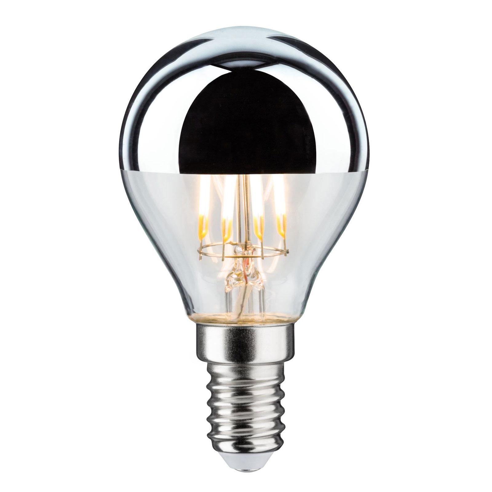 LED-pære E14 827 toppforspeilet sølv 4,8 W dimbar