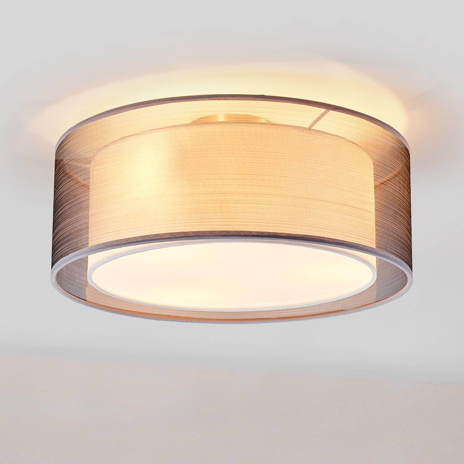 Stoffen plafondlamp Nica in grijs
