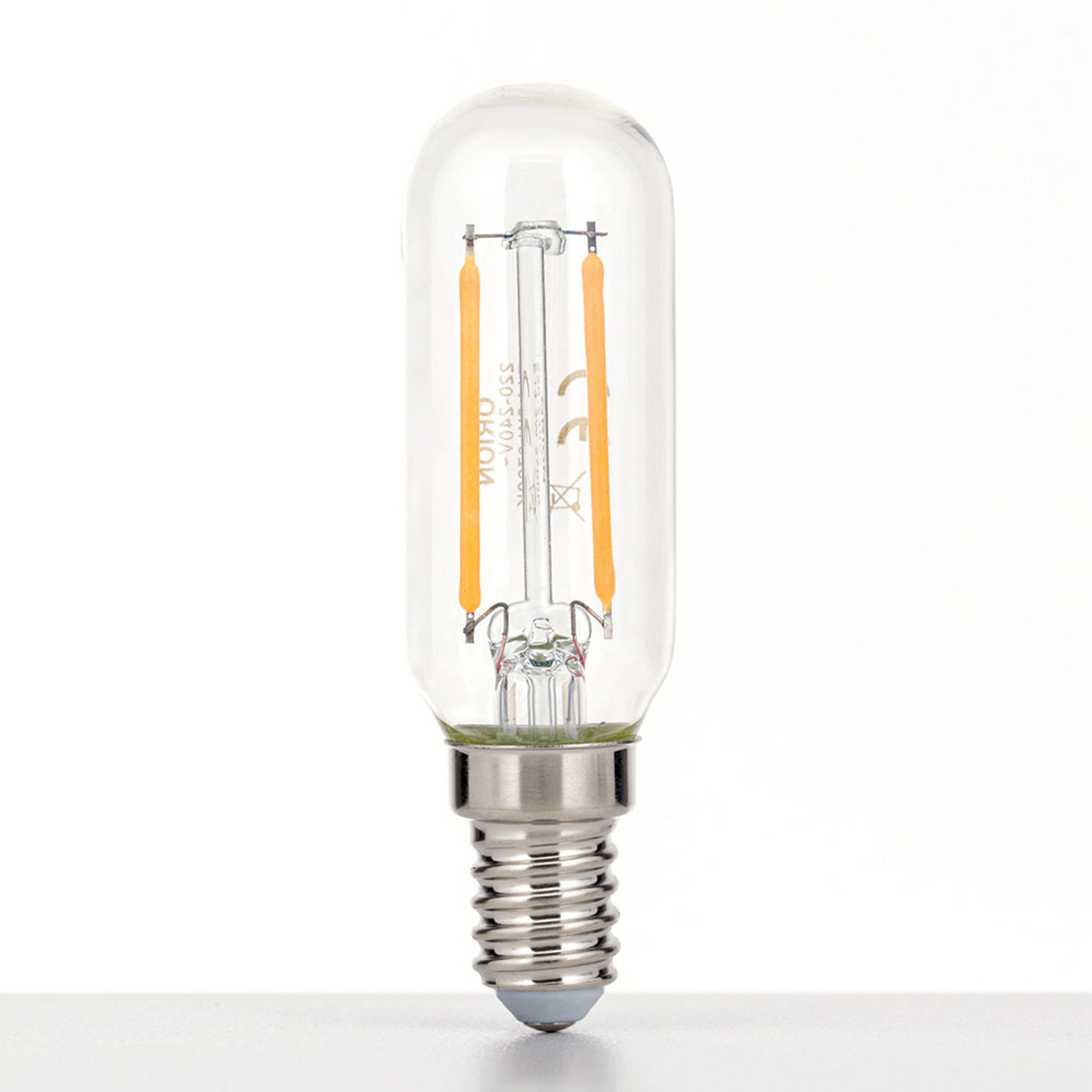 LED-lampe E14 3W 2700K stavform, klar