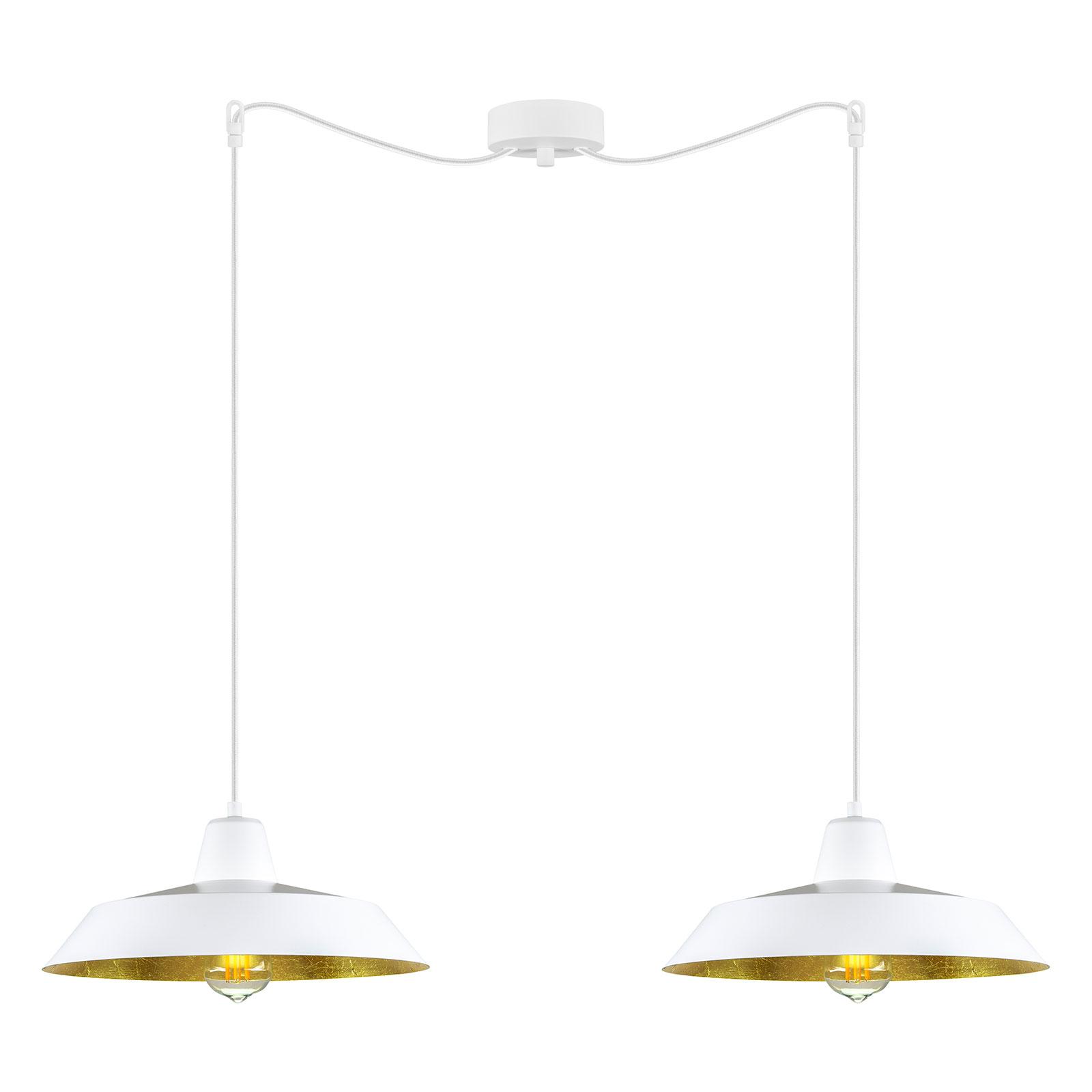 Cinco hængelampe, 2 lyskilder, hvid/guld