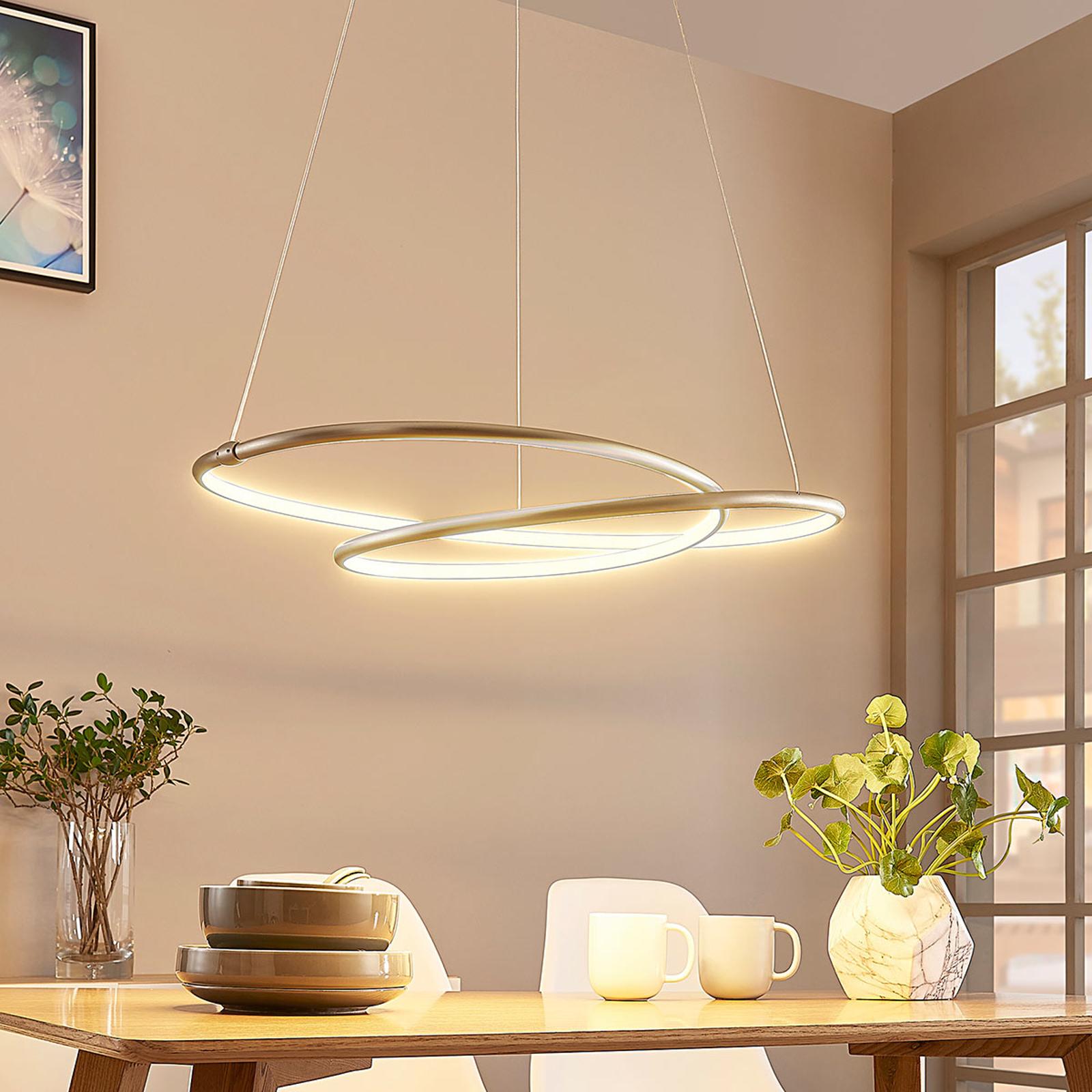 LED-Pendellampe Mirasu, spiralförmig, nickel