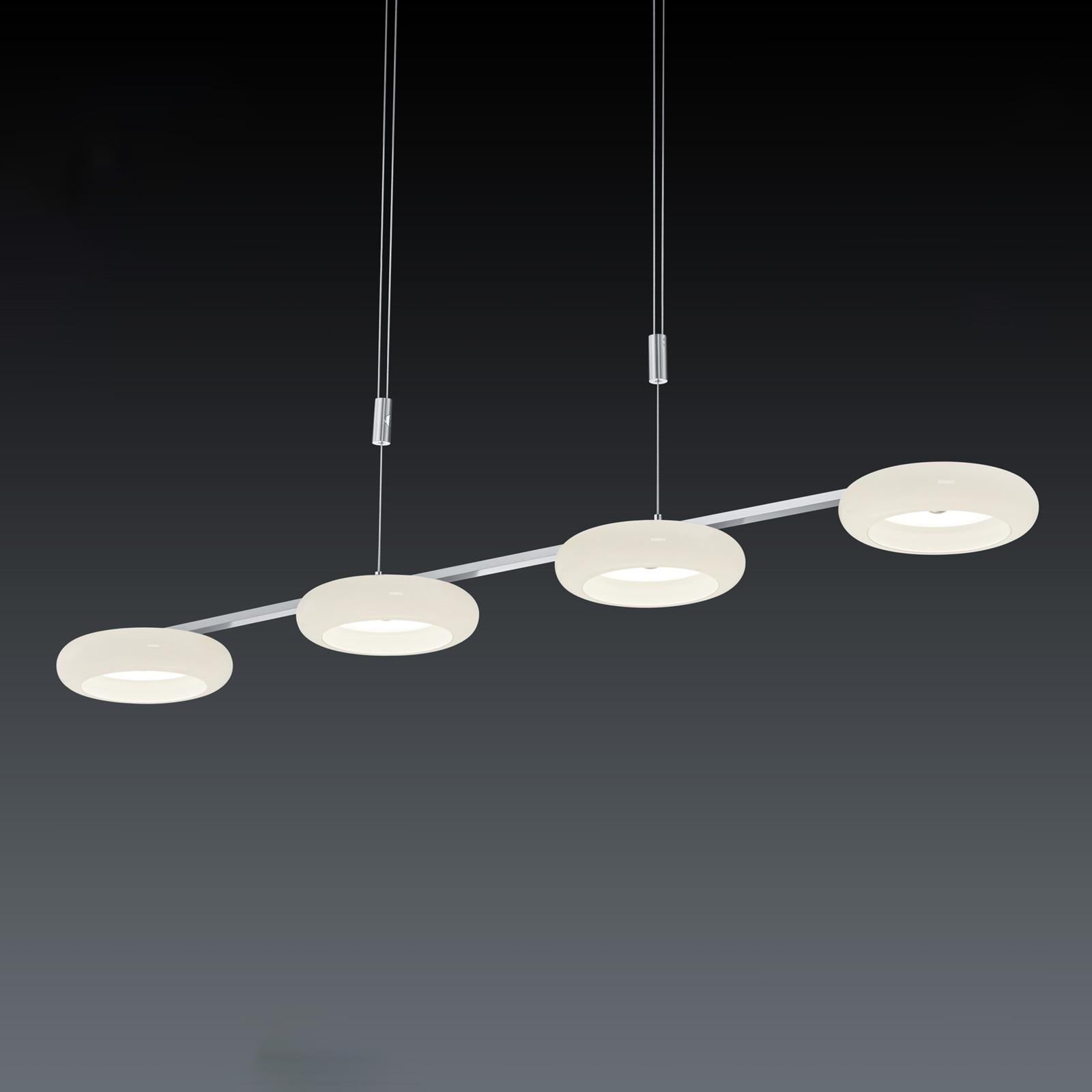 BANKAMP Centa hanglamp 4-lamps wit/nikkel
