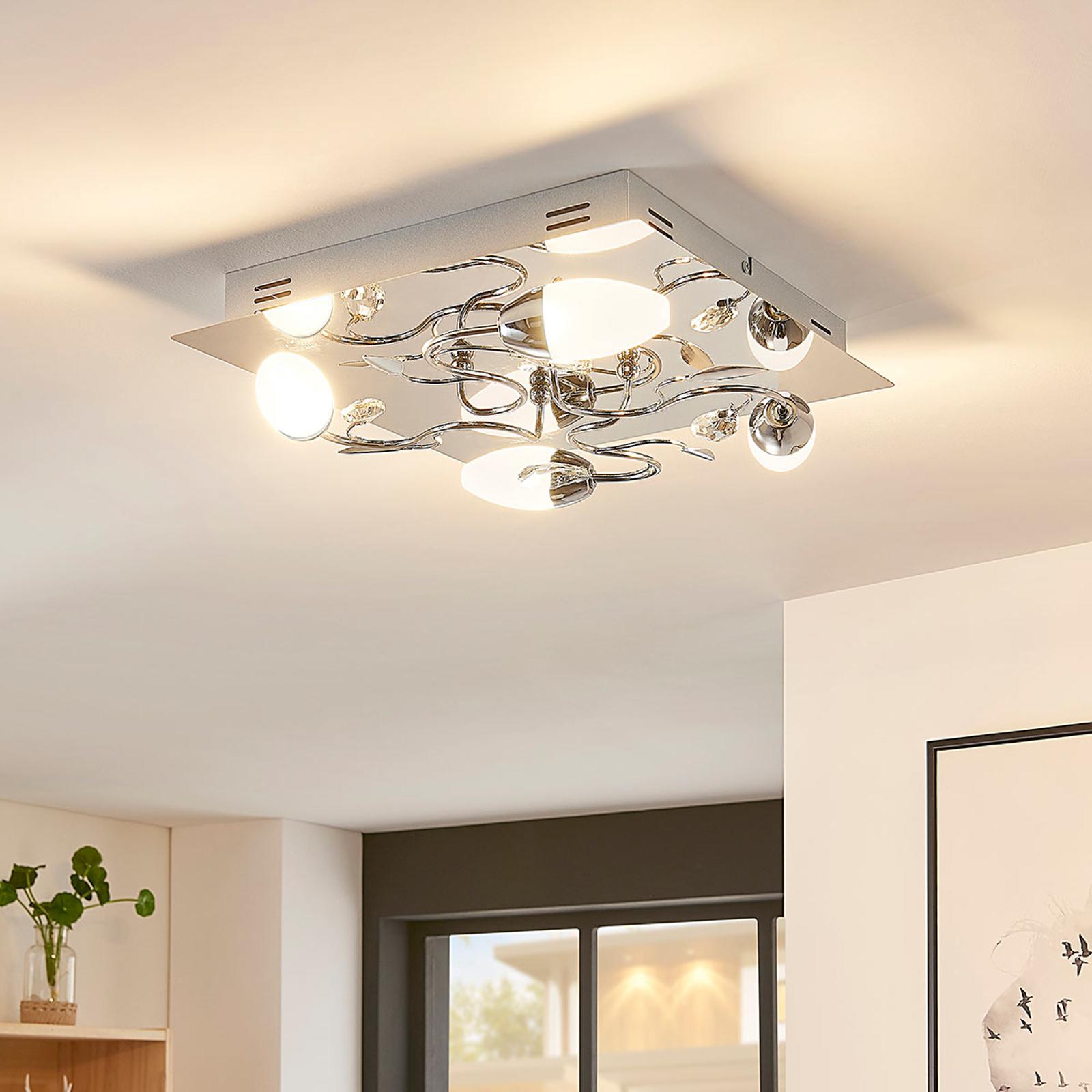 LED-Deckenleuchte Mischa, 4-fl., dimmbar, eckig