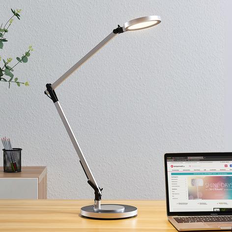 Lampada LED da scrivania Rilana, dimmer, argento