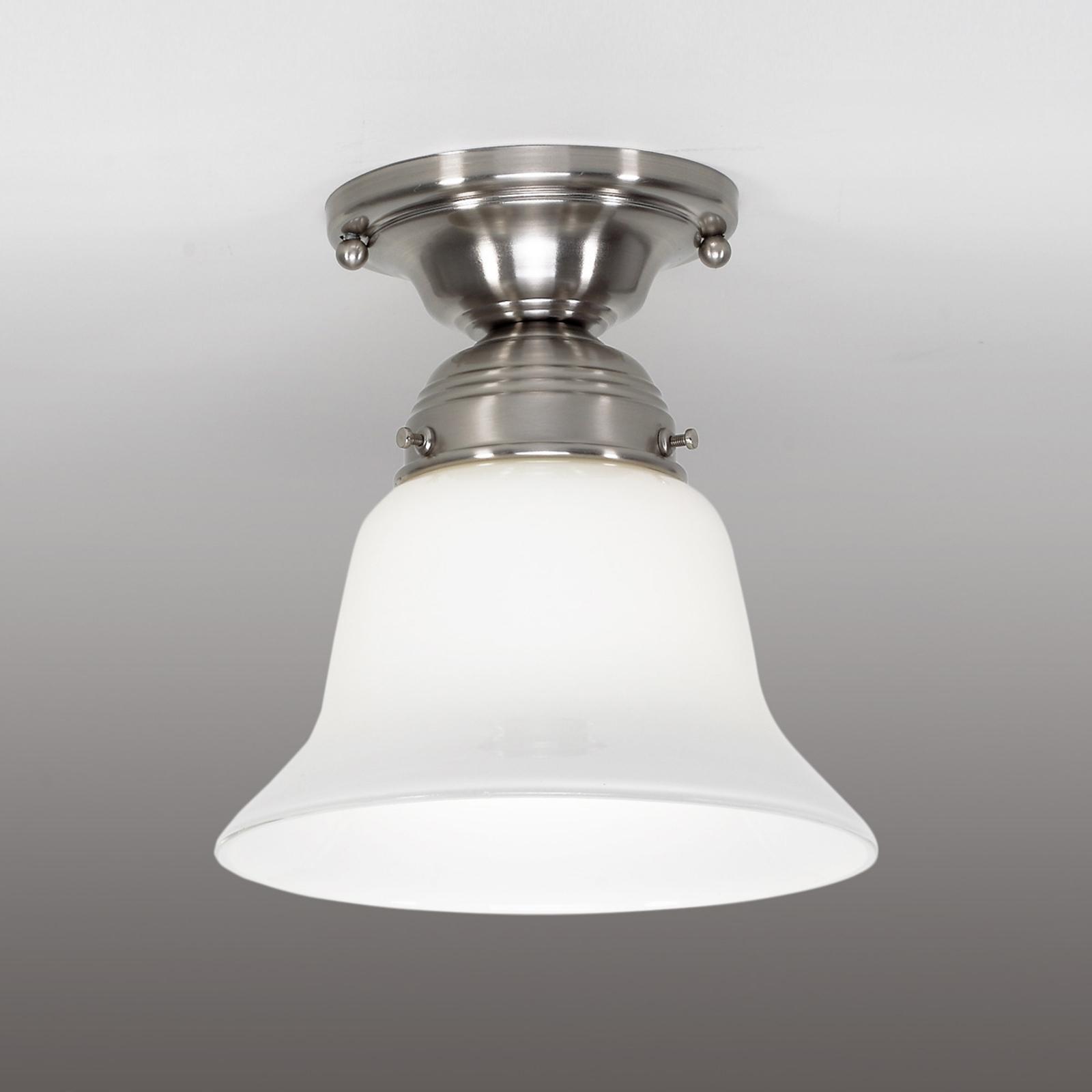 Lámpara de techo Alena, níquel, pantalla cristal