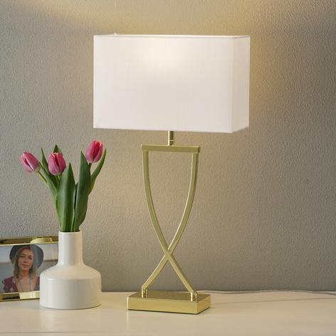 Förtrollande textil-bordslampa Anni mässing-vit