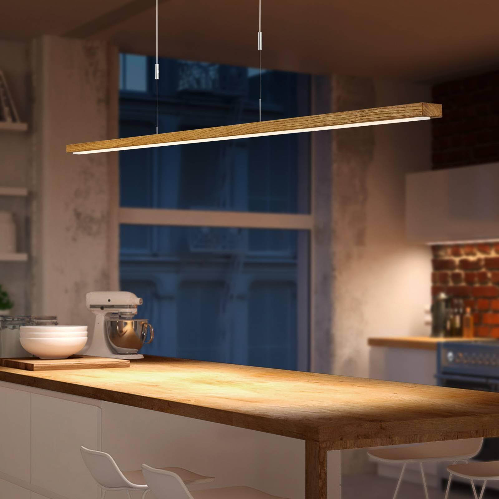 BANKAMP Tulsa LED-Hängelampe Eiche Downlight 100cm