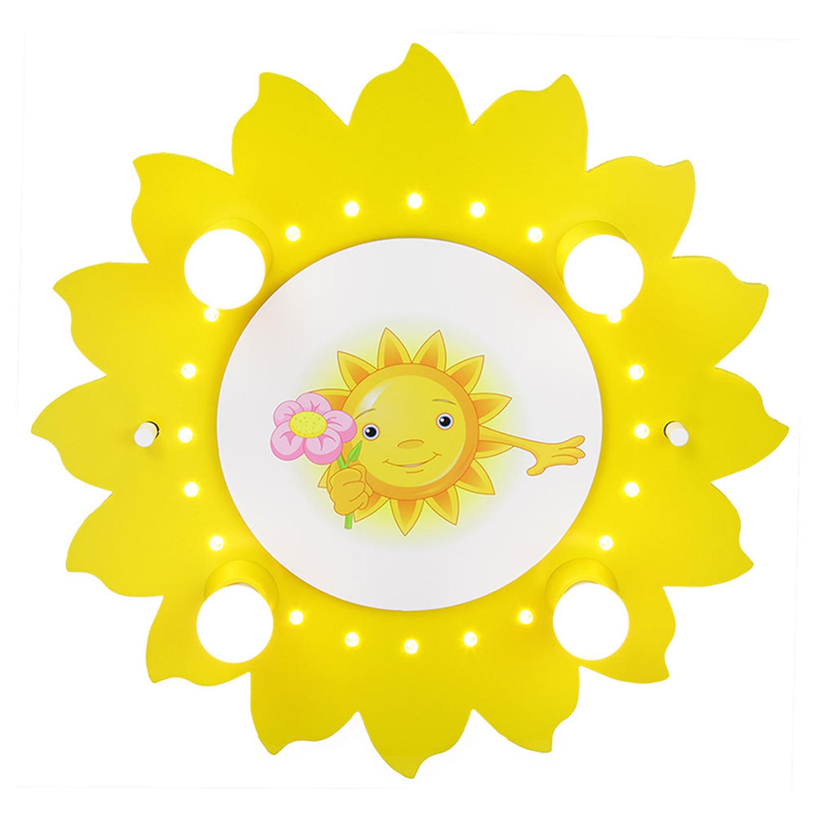 Taklampa Sol med blomma, 4 lampor, gul