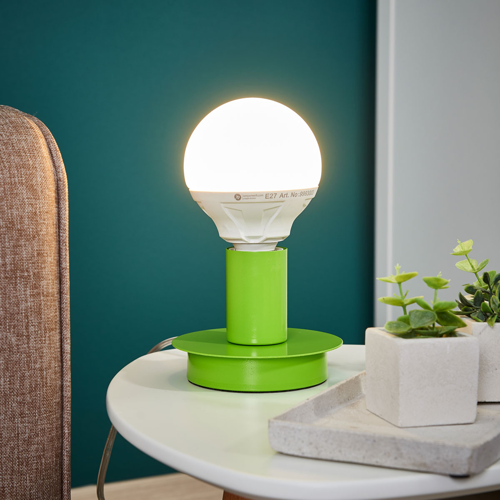 Puristische tafellamp Lumetto - groen