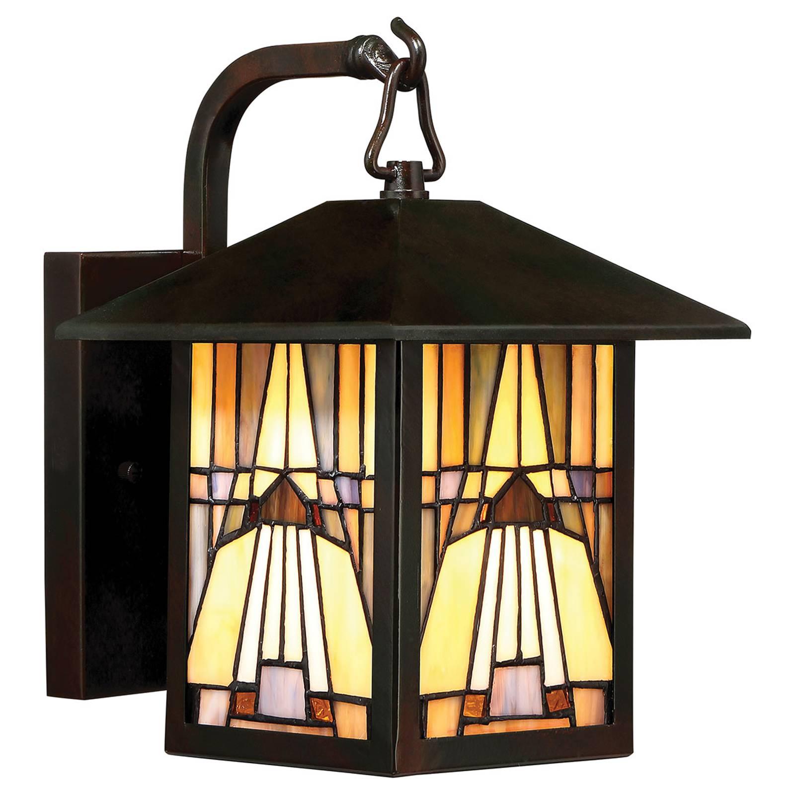 Buitenwandlamp Inglenook, bont glas, H 27,8 cm