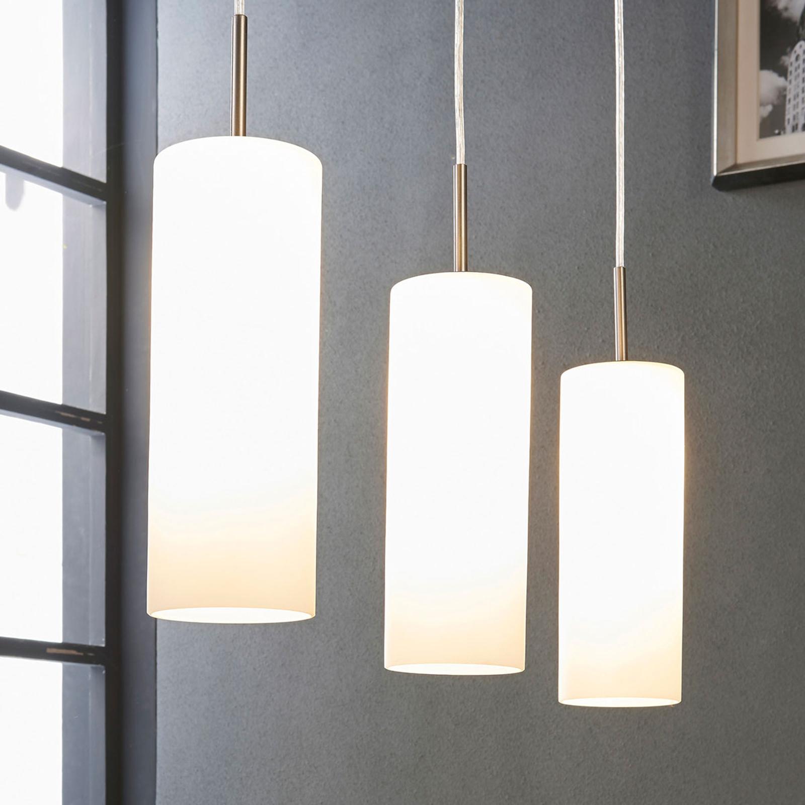 Vinsta - hanglamp met wit glas en drie lichtbr.