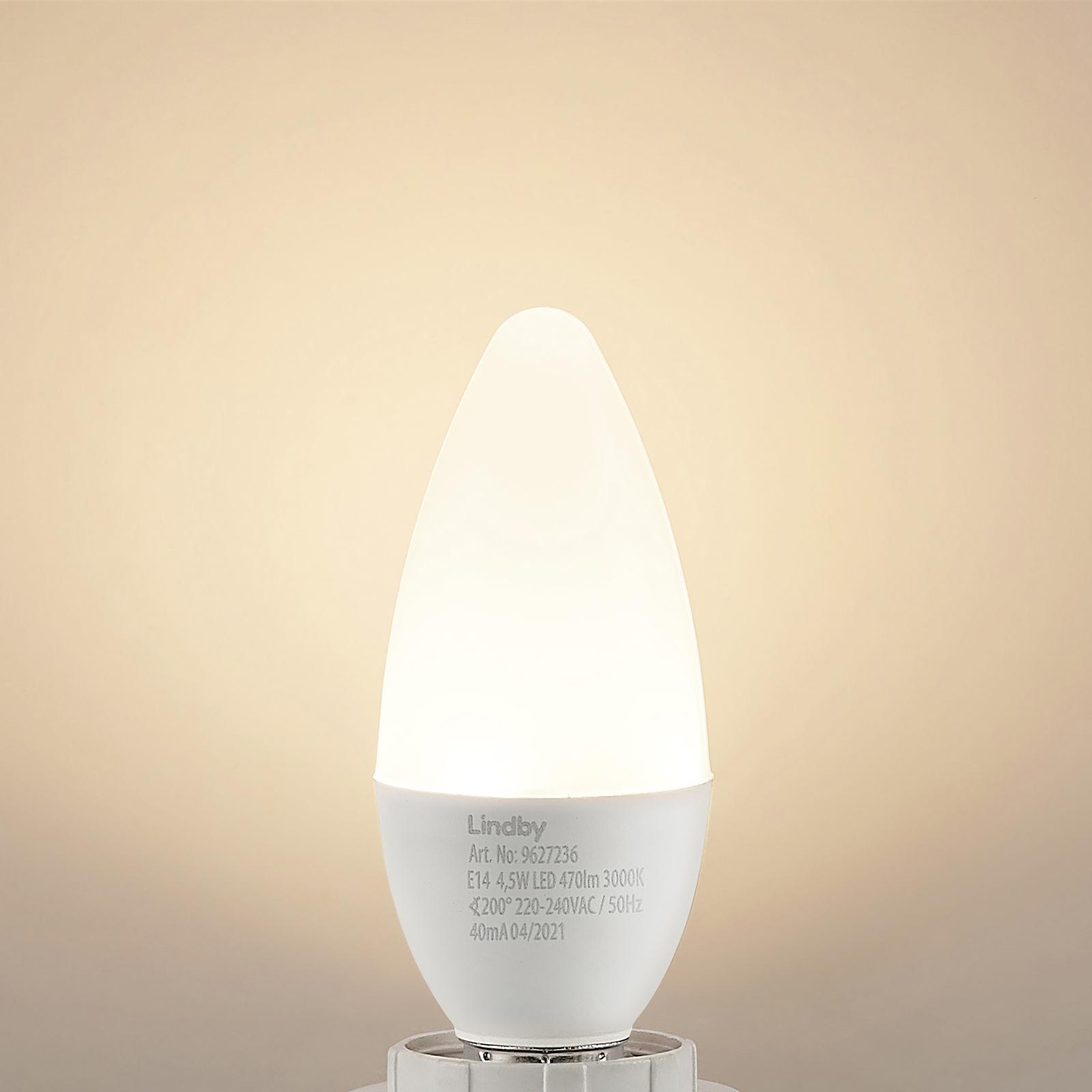 Lindby LED-kronljuslampa E14 C35 4,5W 3000 K opal