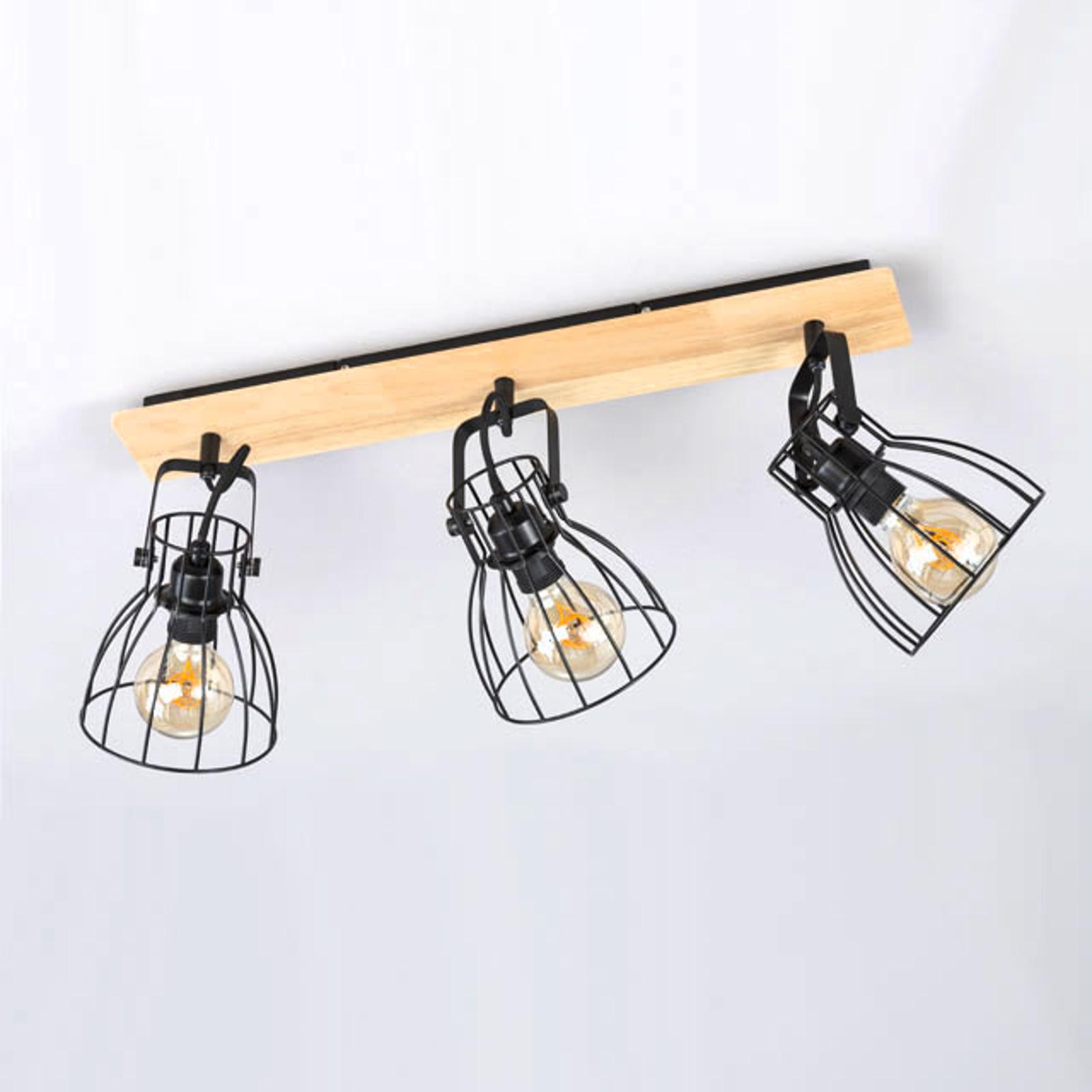 Lampa sufitowa Die wygląd drewna 3 klatkowe klosze