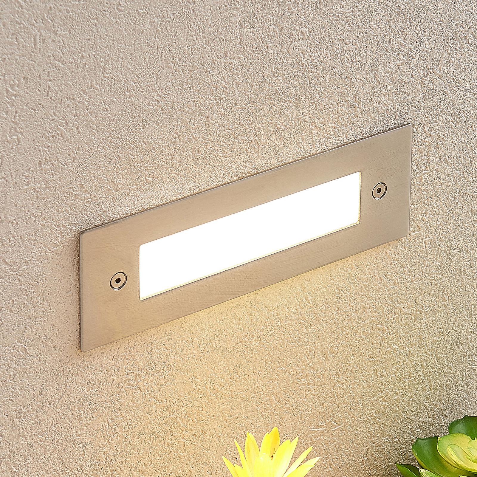 LED-vægindbygningslampe Roni rustfrit stål 19,5 cm