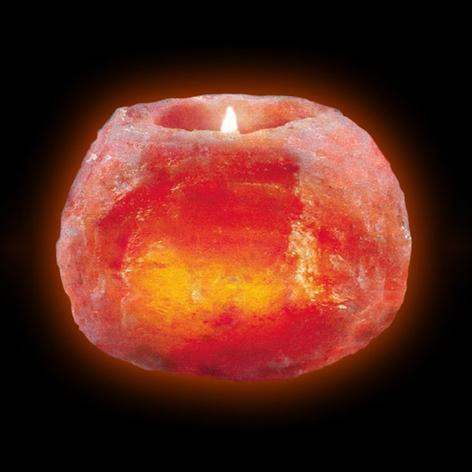 Zoutkristal theelichthouder, middelgroot 700 g