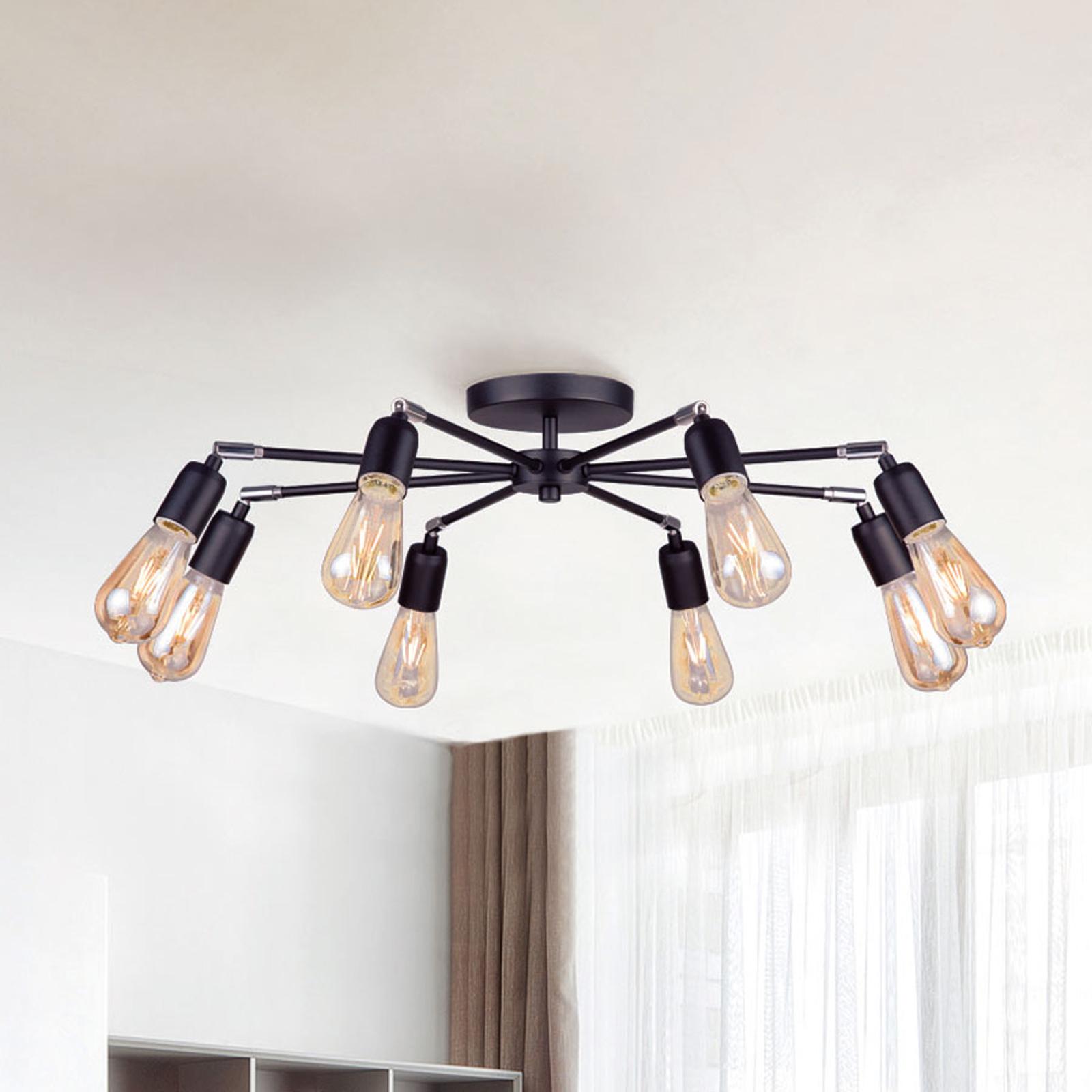 Statik taklampe, 8 lyskilder, svart