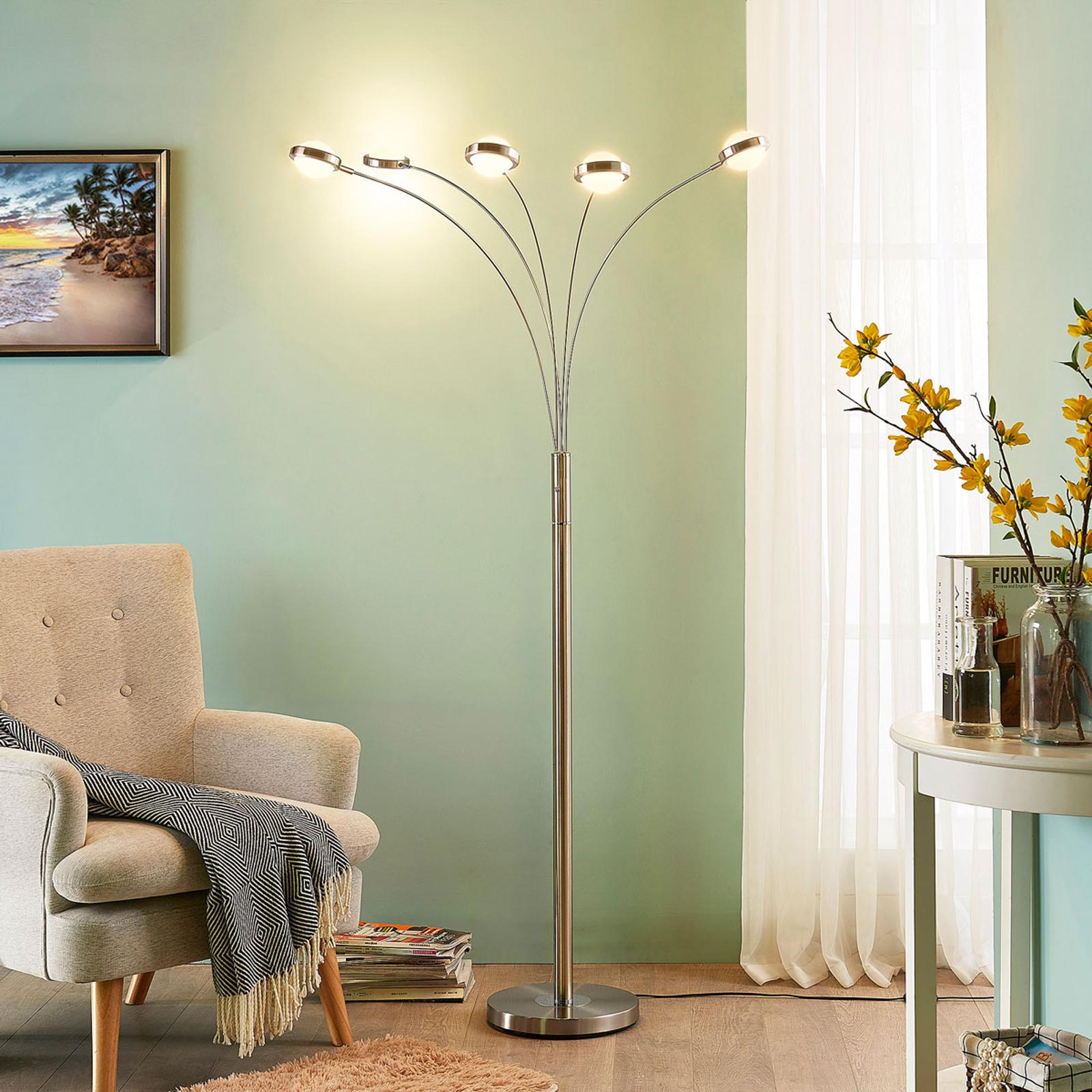 Lampada LED da terra a 5 luci Catriona con dimmer