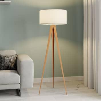 Lindby Benik trojnohá stojací lampa, bílá, dřevo