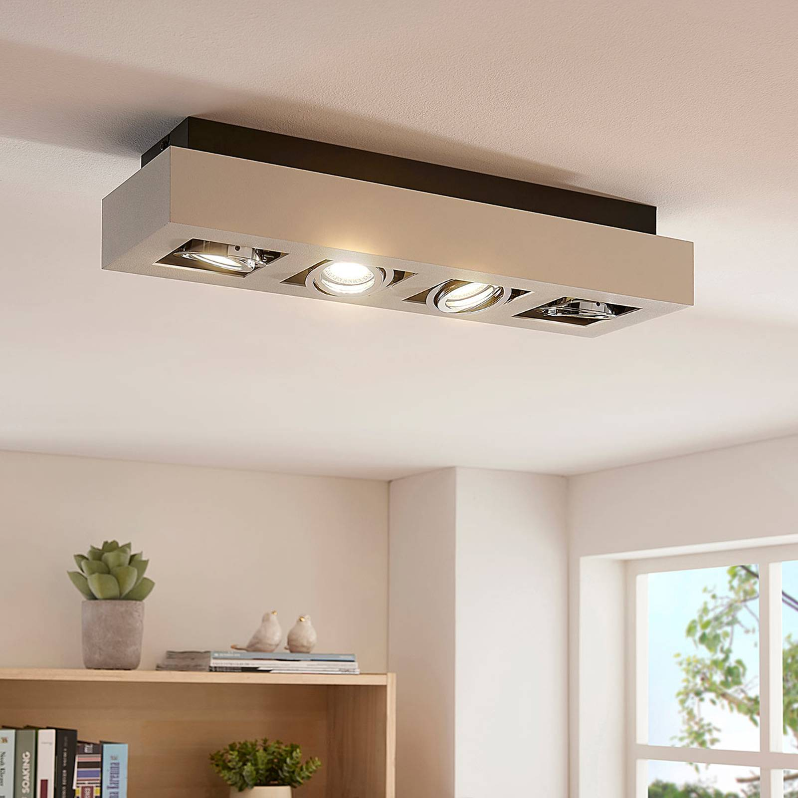 Langwerpige LED-plafondlamp Vince in wit, 4-la.
