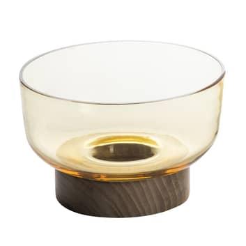 Artemide Bontà coppa di vetro con base di legno