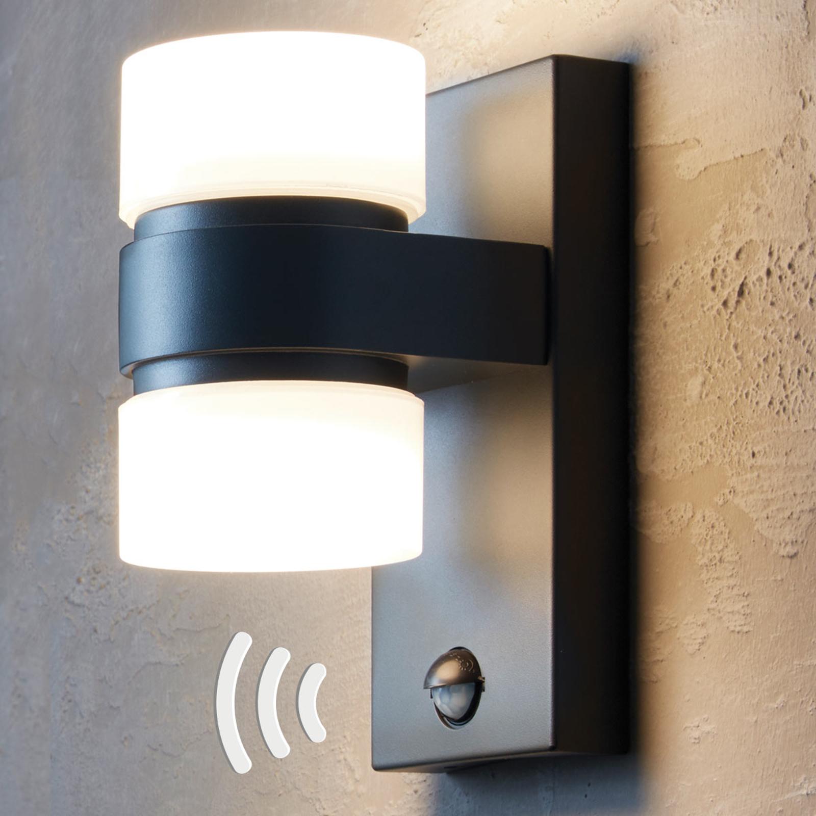 LED-udendørsvæglampe Atollari med bevægelsessensor