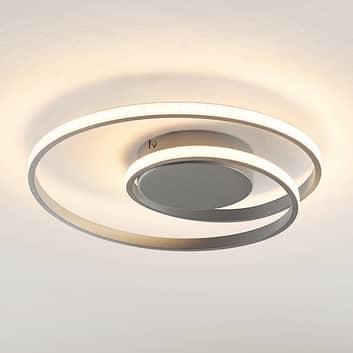 Lindby Kyron LED plafondlamp, zilver titaankleurig