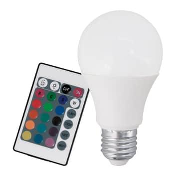Ampoule LED E27 9W RVB+blanc chaud télécommande