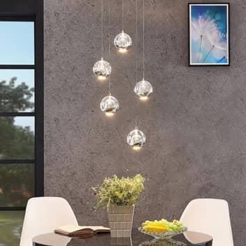 LED-pendellampe Hayley, 5 lys, rund, krom