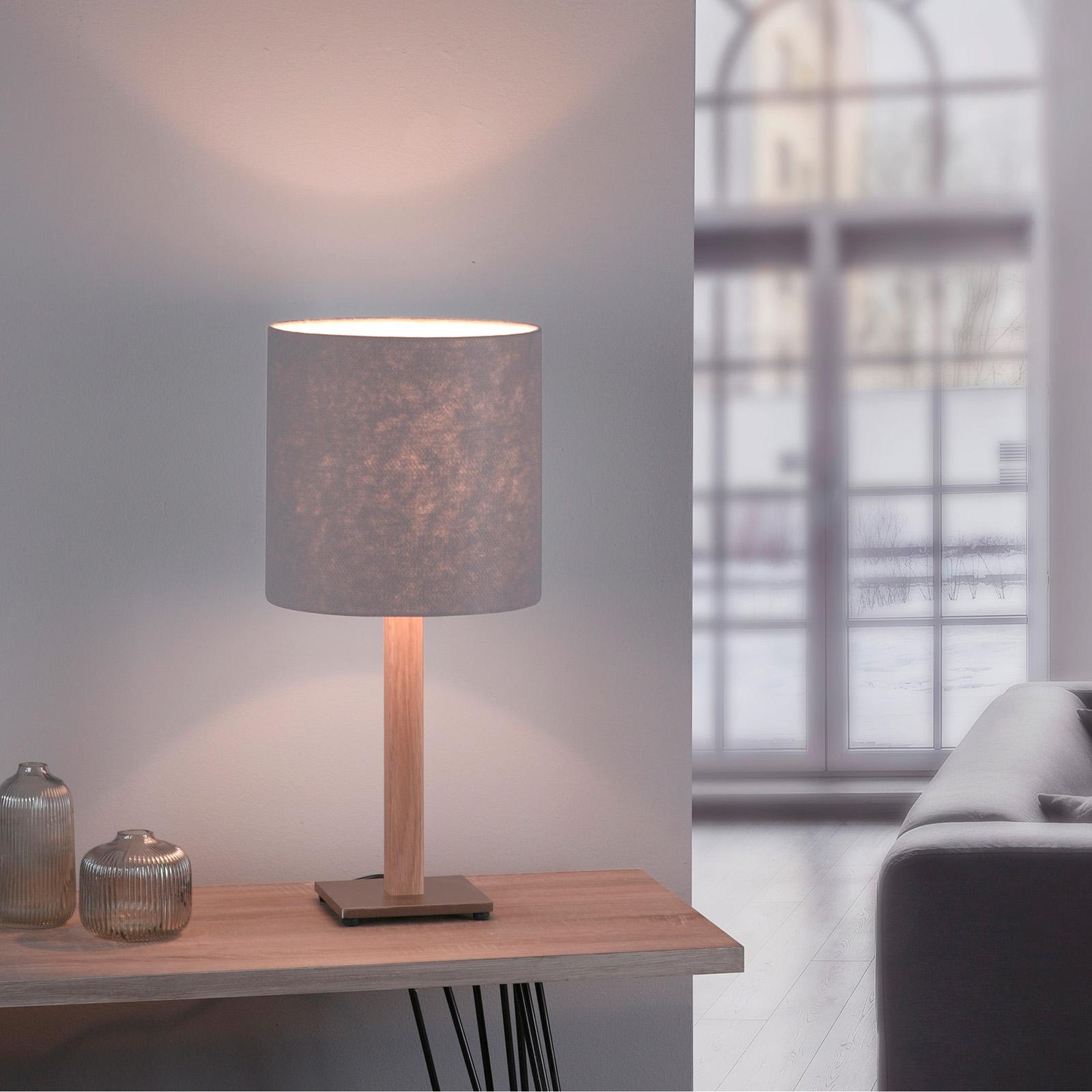 Lucande Elif lampa stołowa filc, kątowa dąb natura