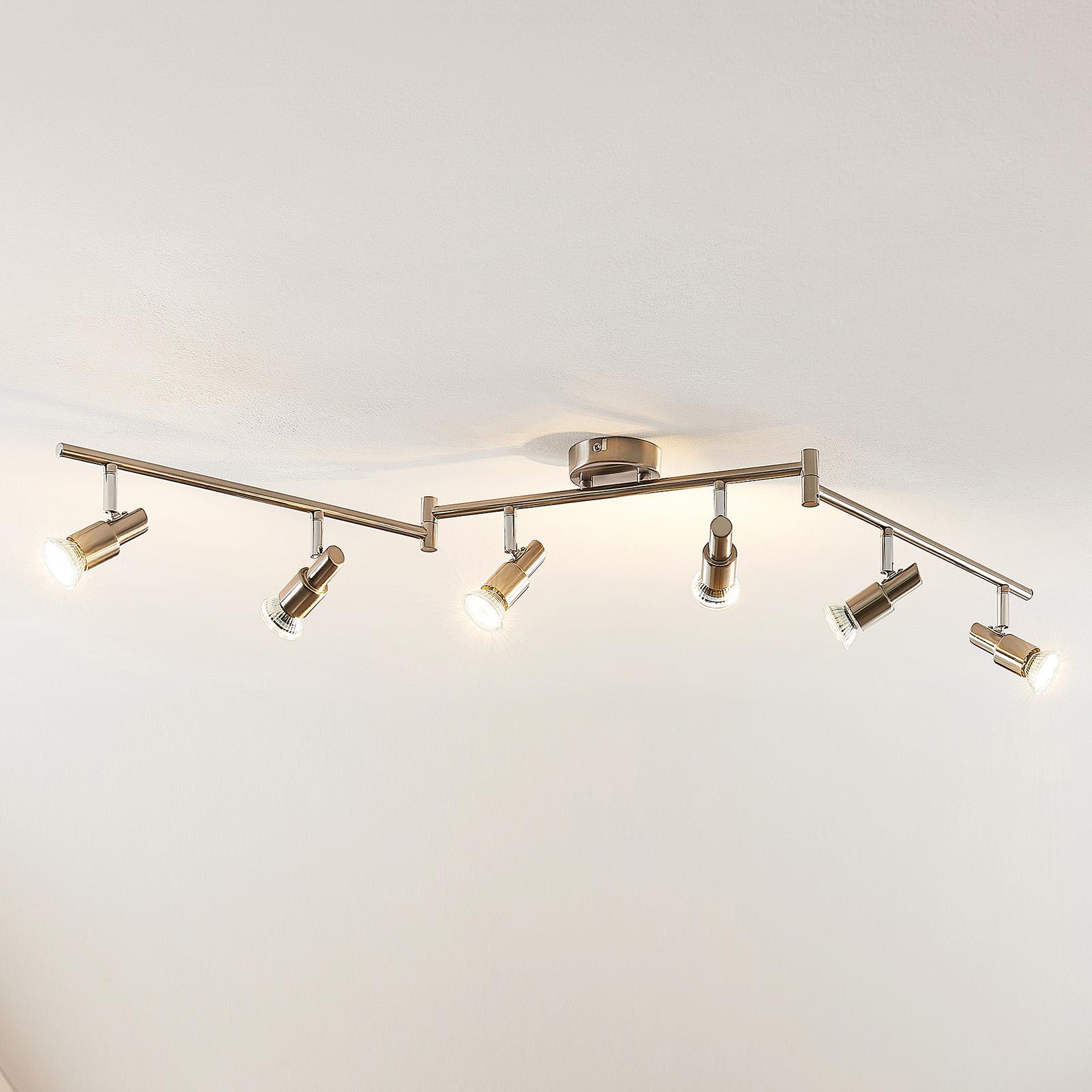 ELC Farida LED-taklampa, nickel, 6 lampor