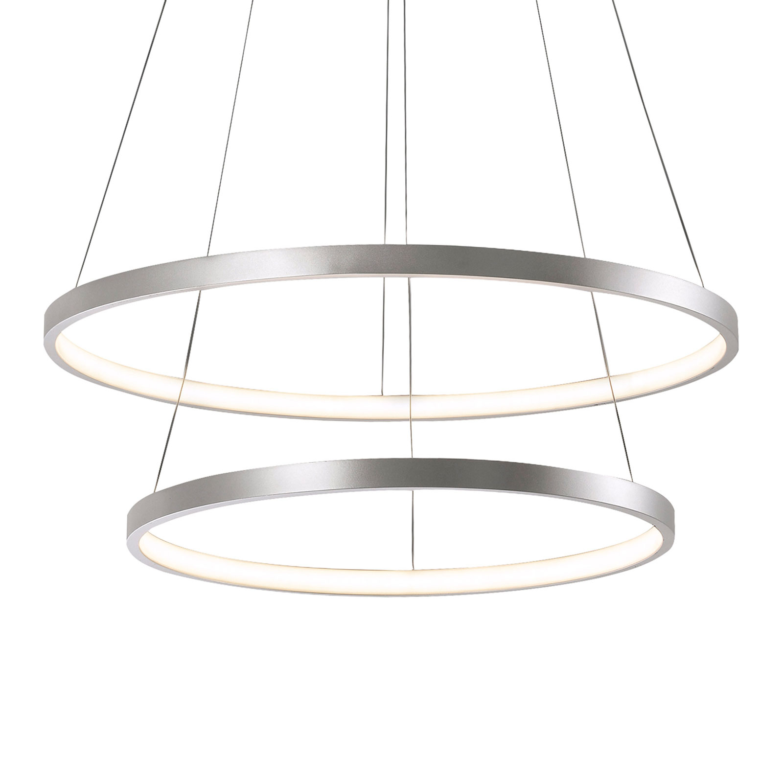LED hanglamp Circle zilver, 2-lamps