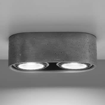 Foco de techo Solana hormigón redondo 2 luces