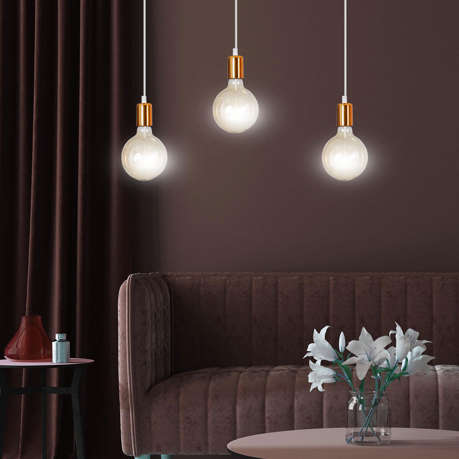 Hanglamp Spark 3 3-lamps, wit-koper