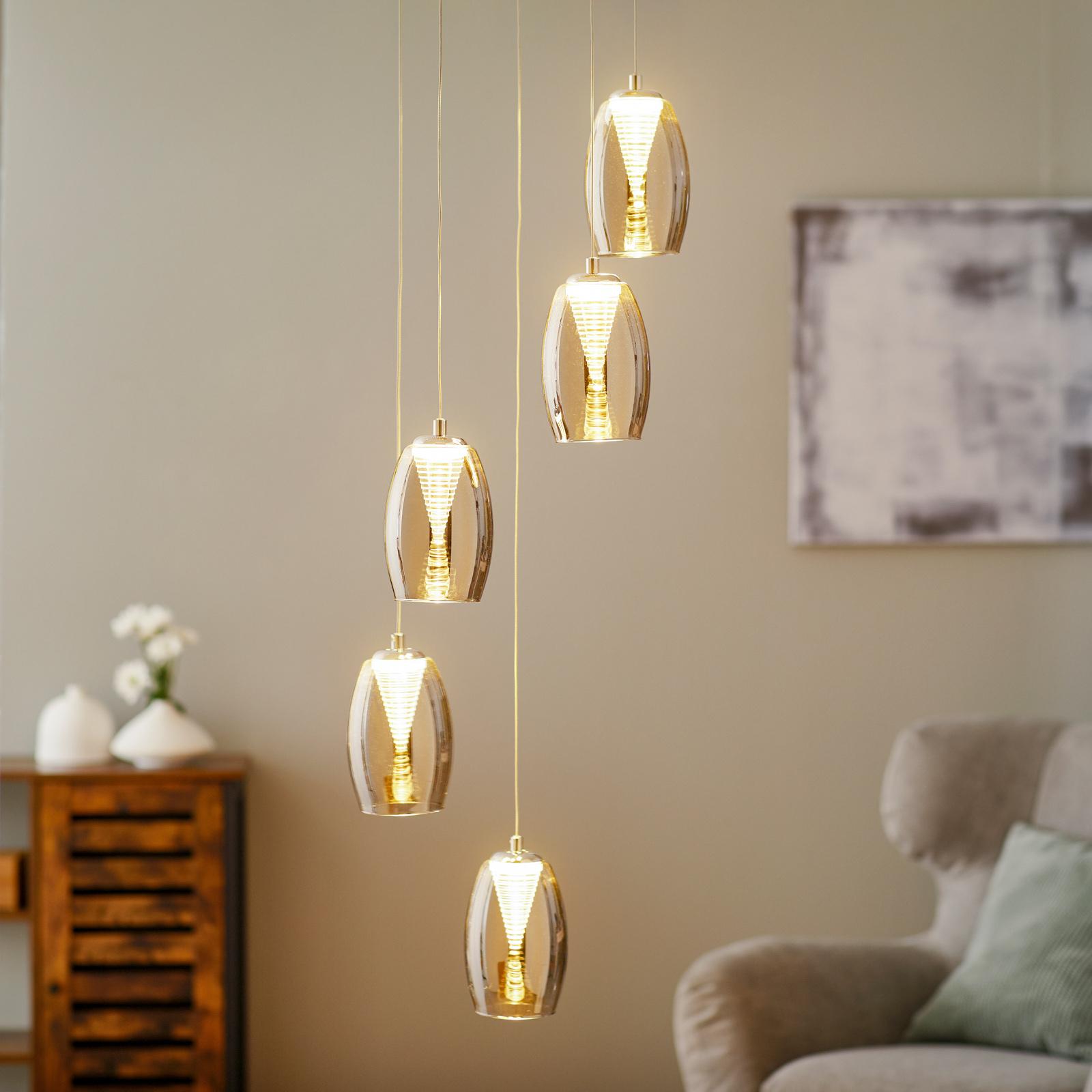 LED-hänglampa Metropolis rökglas 5 lampor
