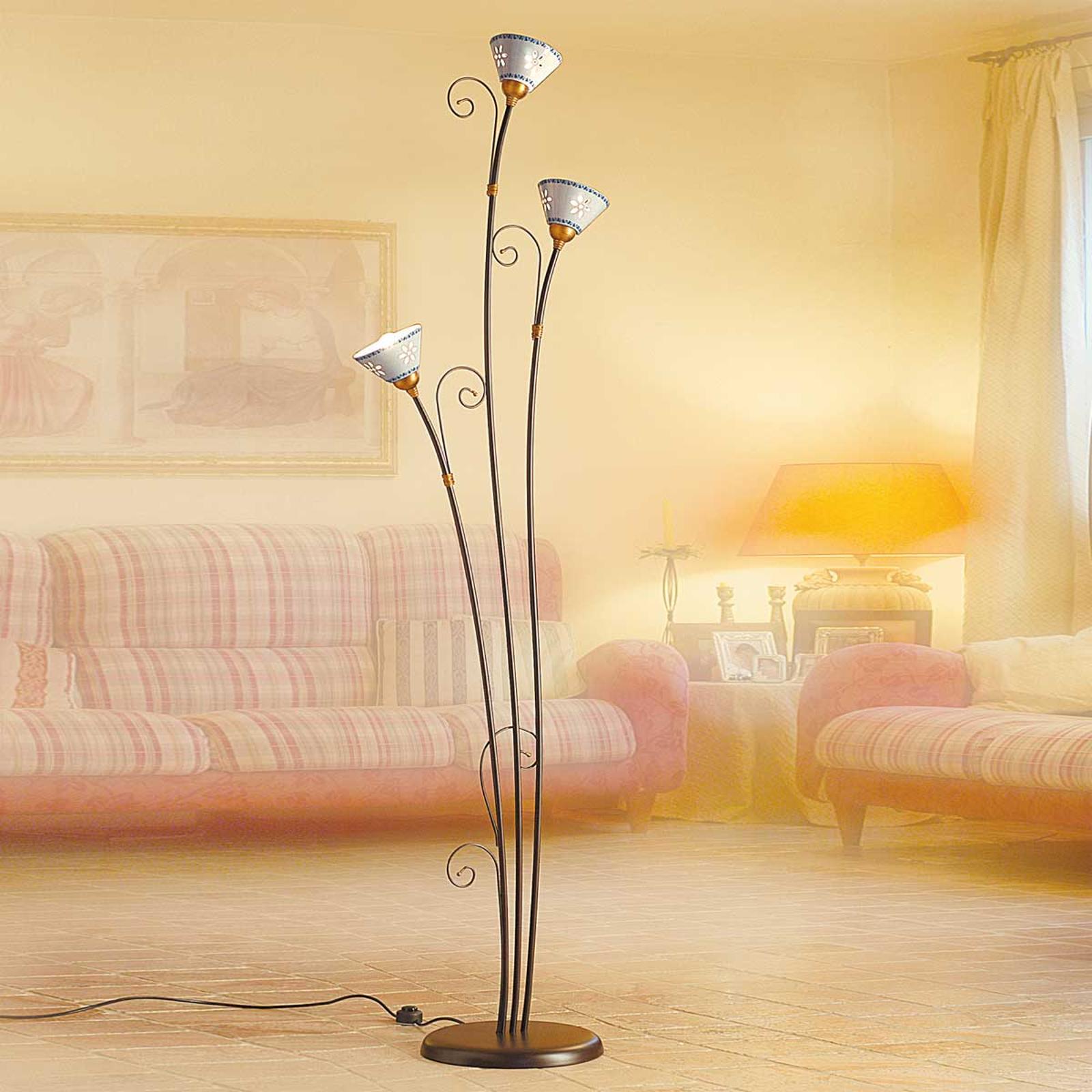 Lampadaire céramique à 3 lampes LIBERTY